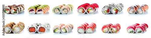 Fototapeta Sushi Rolls Set, maki, philadelphia and california rolls, on a white background. obraz