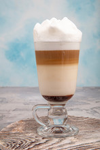 Coffee Latte In Glass With Cho...