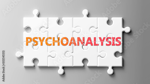 Psychoanalysis complex like a puzzle - pictured as word Psychoanalysis on a puzz Tablou Canvas