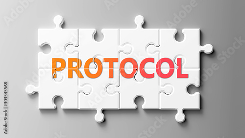 Cuadros en Lienzo Protocol complex like a puzzle - pictured as word Protocol on a puzzle pieces to