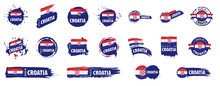 Vector Set Of Flags Of Croatia On A White Background