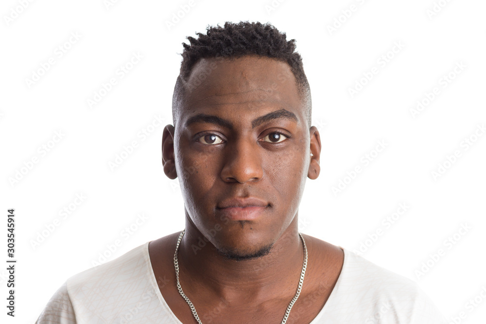 Fototapeta african american man looking confident at camera. Standing against white background.