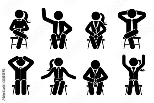 Sitting on chair stick figure business man and woman different poses pictogram vector icon set Fototapet