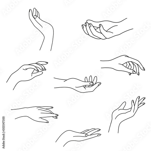 Fototapeta Woman's hand collection line. Vector Illustration of female hands of different gestures - victory, okay. Lineart in a trendy minimalist style. Logo design, hand cream, nail Studio, posters, cards. obraz