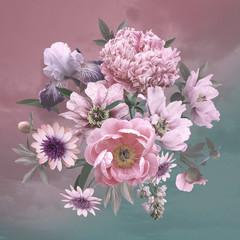 Fototapeta Do kawiarni Beautiful flowers peonies and iris. Floral template.