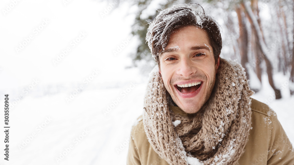 Fototapety, obrazy: Happy Young Man Laughing Looking At Camera Enjoying Winter Outdoor