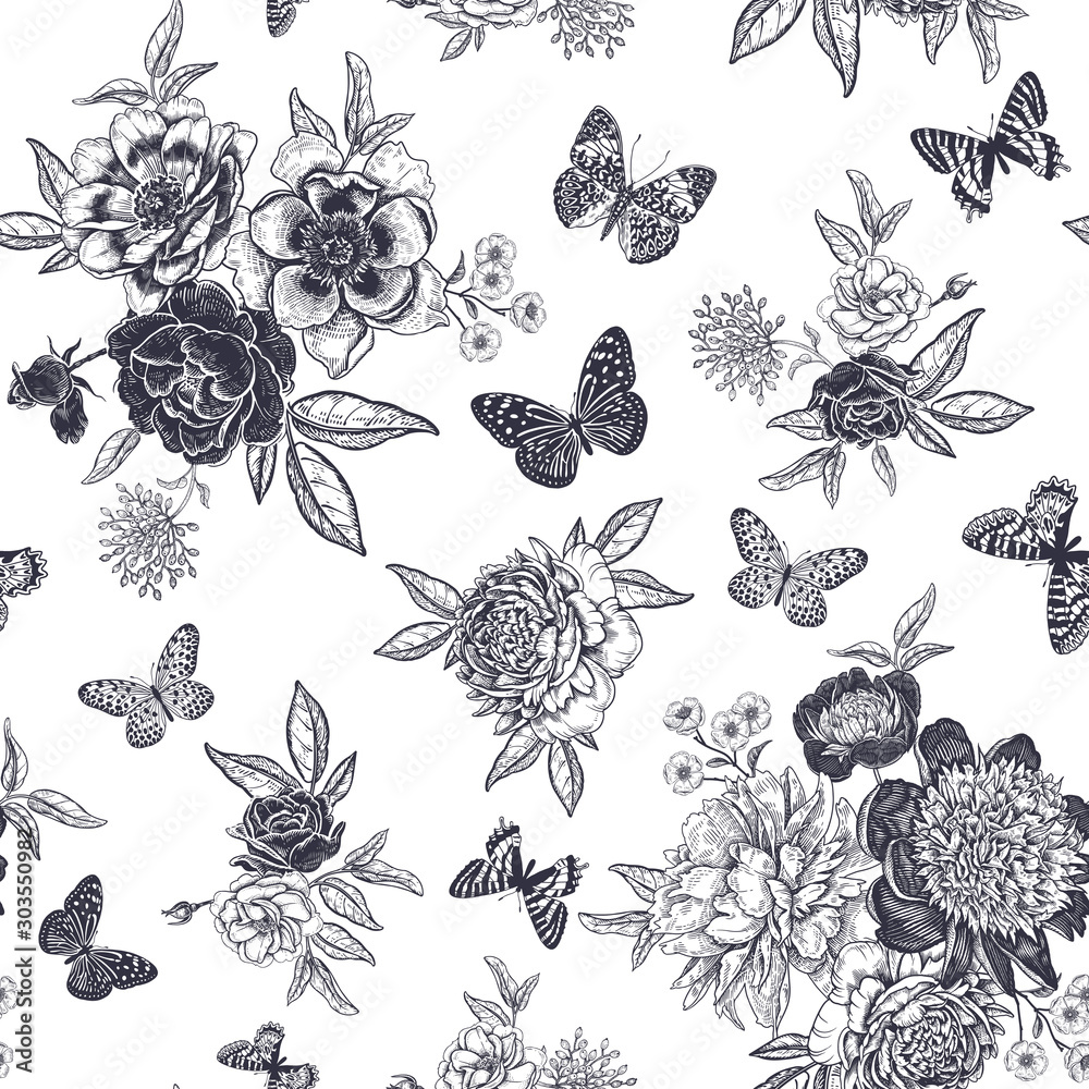 Fototapety, obrazy: Black and white Vintage floral seamless pattern. Peonies, roses and butterflies.