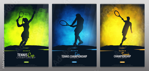 Fotografía  Set of Tennis Championship banners or posters, design with players and racquet