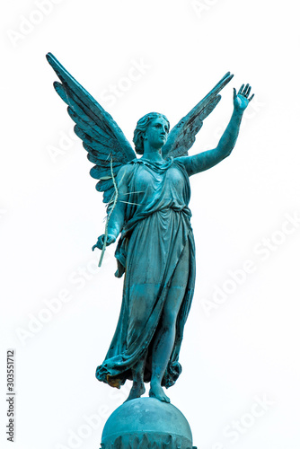 Canvastavla Abstract image of statue of ancient goddess Victoria (Nick) with palm branch in hand