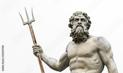 Obraz na plátne Abstract image with statue of ancient god Neptune with trident