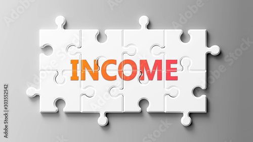 Fototapeta Income complex like a puzzle - pictured as word Income on a puzzle pieces to show that Income can be difficult and needs cooperating pieces that fit together, 3d illustration obraz