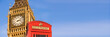 Red telephone box and Big Ben,  panoramic background of London, UK