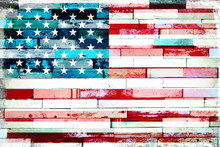 US American Flag On Old Painte...