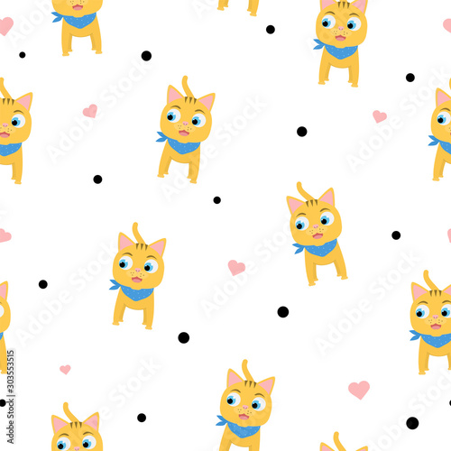 Seamless pattern with cute smiling kitten, hearts and dots. Funny red cat for children's textile design.