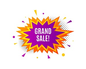 Grand sale symbol. Banner badge, offer sticker. Special offer price sign. Advertising discounts symbol. Grand sale banner. Sticker badge. Vector