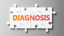 Diagnosis Complex Like A Puzzle - Pictured As Word Diagnosis On A Puzzle Pieces To Show That Diagnosis Can Be Difficult And Needs Cooperating Pieces That Fit Together, 3d Illustration
