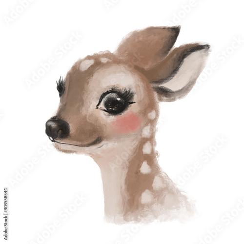 Cute hand drawn deer, fawn, woodland watercolor animal portrait Wall mural