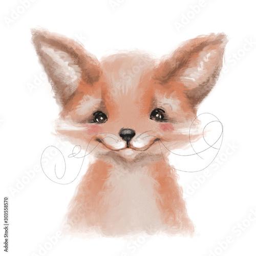 Cute hand drawn fox, woodland watercolor animal portrait Wall mural