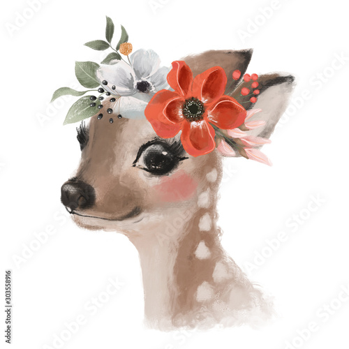 Cute hand drawn deer, fawn in floral wreath, flowers bouquet, woodland watercolor animal portrait Wall mural