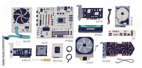 Computer hardware colorful flat vector illustrations set Fototapet
