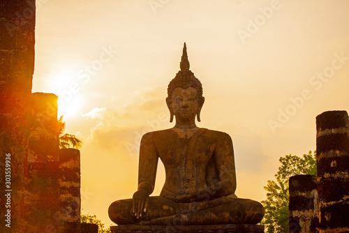 Sukhothai Wat Mahathat Buddha statues at Wat Mahathat ancient capital of Sukhothai  Thailand Canvas Print