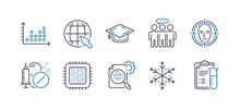 Set Of Science Icons, Such As Dot Plot, Cpu Processor, Graduation Cap, Medical Drugs, Face Detect, Employees Group, Snowflake, Internet, Seo Stats, Medical Analyzes Line Icons. Vector