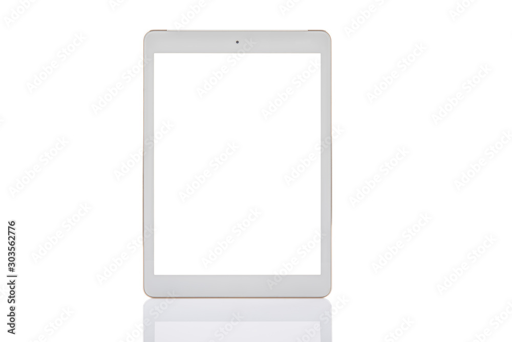 Fototapety, obrazy: tablet white color with blank touch screen isolated on white background.