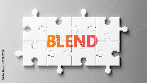 Photo Blend complex like a puzzle - pictured as word Blend on a puzzle pieces to show