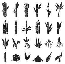 Sugar Cane Black Vector Illust...