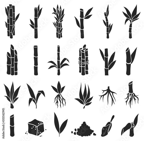 Fotografiet Sugar cane black vector illustration on white background