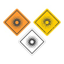 Road Sign Warning About Tornado. Twister Hurricane Countryside Wind Swirl. Icons Set