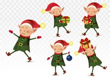 Set Of Cute Christmas Elves. Santa Claus Helpers. Little Beautiful Elves. Happy New Year.Elves With Gift Presents. Icon Set. Vector Illustration.