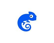 Blue Chameleon Logo Vector Design