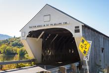 Historic Covered Bridge On A Sunny Fall Day. Cornish-Windsor Covered Bridge, NH, USA.
