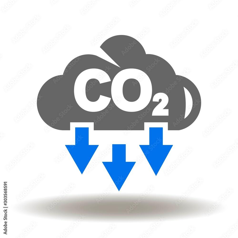 Fototapeta  Cloud CO2 Pollution Icon Vector. Carbone dioxide emissions logo.