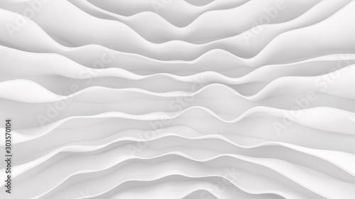 White stripe waves pattern futuristic background. 3d render illustration