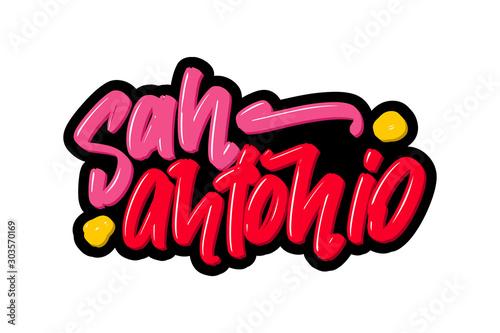 San Antonio hand drawn modern brush lettering Wallpaper Mural