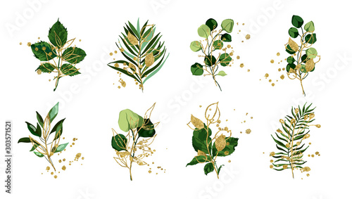 Leinwand Poster  Gold green tropical leaves wedding bouquet with golden splatters isolated on white background