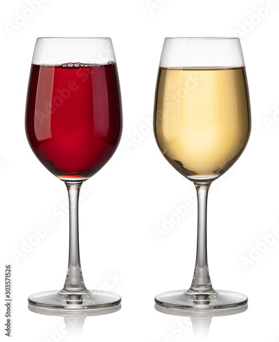 Glass of red and white wine