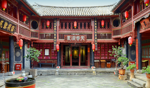 Leinwand Poster Yan's Compound in Xizhou is the most representative of Bai-style residences, about 13 kilometers (8