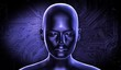 3d rendered human face, digital illustration, with dark blue colors. The concept of artificial intelligence.