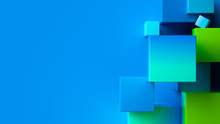 Blue Green Abstract Geometric Background. 3d Rendering Cubic Minimal Composition For Corporate Design Template.