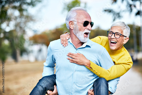 senior couple happy elderly love together Canvas Print