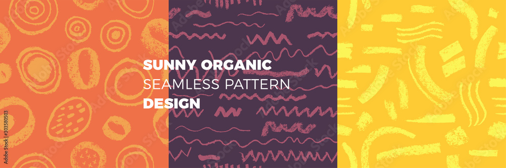Fototapeta Organic seamless pattern vector background. Hand drawn natural elements with bright organic texture. Eco friendly design, label cosmetics, healthy food, mental health concept. Organic branding design.
