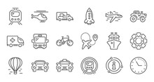 Transport Line Icons. Taxi, Helicopter And Train. Airplane Linear Icon Set. Quality Line Set. Vector