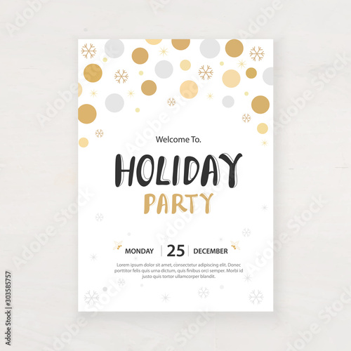 design for holiday party and happy new year party invitation flyer and greeting Wallpaper Mural