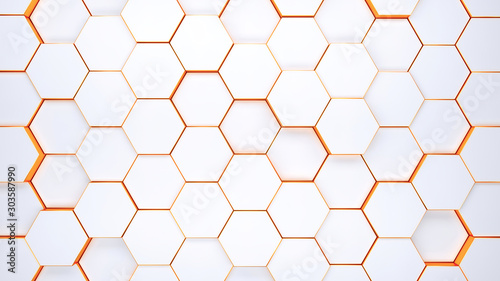 Fototapeta Modern hexagonal background texture pattern. Honeycombs at different level. 3d rendering illustration. Futuristic banner. obraz
