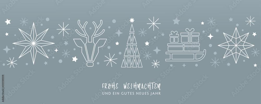 Fototapeta Weihnachtsgruss silberner Hintergrund - Sterne, Weihnachtsbaum, Rentier und Geschenke auf Schlitten - deutsch