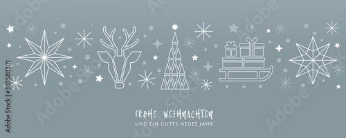 Weihnachtsgruss silberner Hintergrund - Sterne, Weihnachtsbaum, Rentier und Geschenke auf Schlitten - deutsch - 303588301