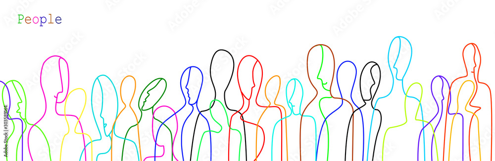 Fototapety, obrazy: crowd of people in modern creative style, people are different concept, crowd of vivid colored people on the white background,